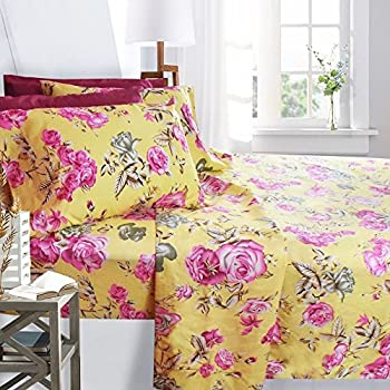 Genial Printed Bed Sheet Set, Full Size   Pink Roses   By Clara Clark, 6