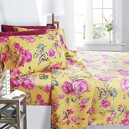 Printed Bed Sheet Set, Queen Size - Pink Roses - By Clara Cl