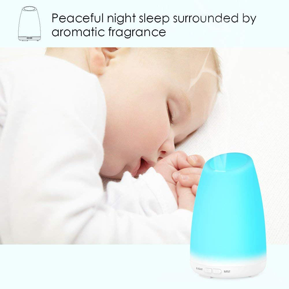 Aroma Essential Oil Diffuser, UNICOM 150ml Ultrasonic Cool Mist Air Humidifier Wood Grain Aroma Diffuser Waterless Auto Shut-off and 7 Color LED Lights Changing for Office Baby Bedroom Yoga Spa (109 White)