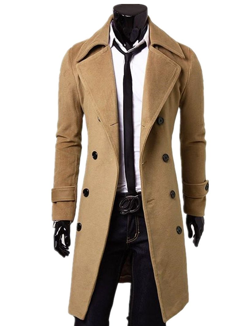 Kalanman Men's Winter Slim Double Breasted Overcoat Long Trench Coat Jacket (US XL(Label XXXL0, Camel) by Kalanman