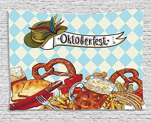 [Oktoberfest Collection Bread Pretzel Carnival Partying Germany Costume Cheerful Festival Illustration Brown Blue Supersoft Throw Fleece Blanket] (Oktoberfest Costumes Australia)
