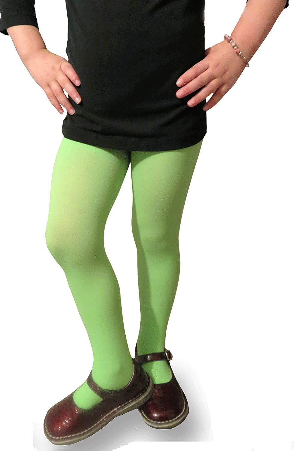Clips N Grips Girls Microfiber Opaque Colored Tights Fashion