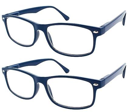 TBOC Gafas de Lectura Presbicia Vista Cansada - (Pack 2 Unidades) Graduadas +1.50 Dioptrías Montura de Pasta Azul Diseño Moda Hombre Mujer Unisex ...