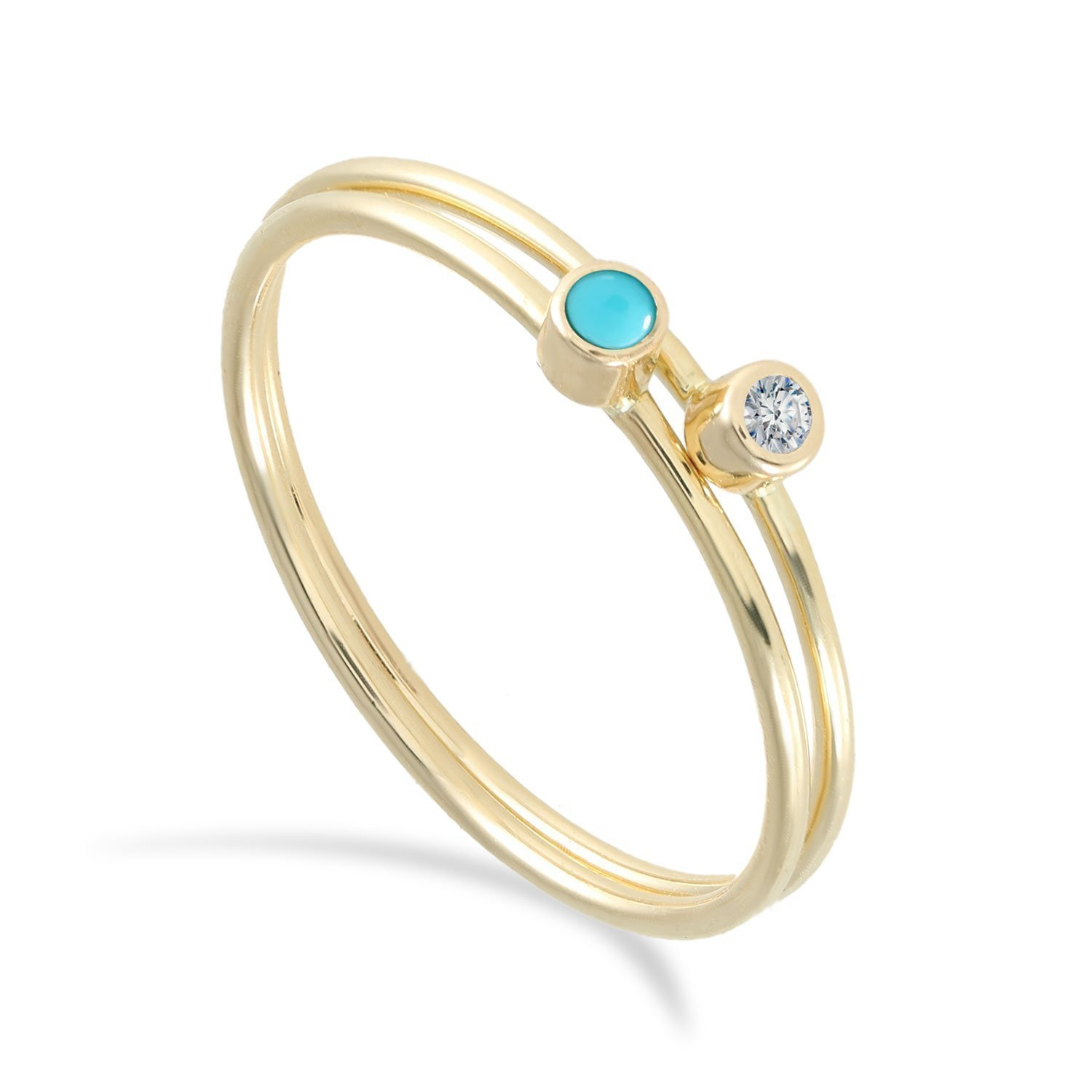 BallucciToosi Women Jewelry - 14k or 18k Gold Diamond Turquoise Sets White Rose Yellow Stacking Stackable Ring - Midi Finger Small Stone Thin Bands Size 4 to 10
