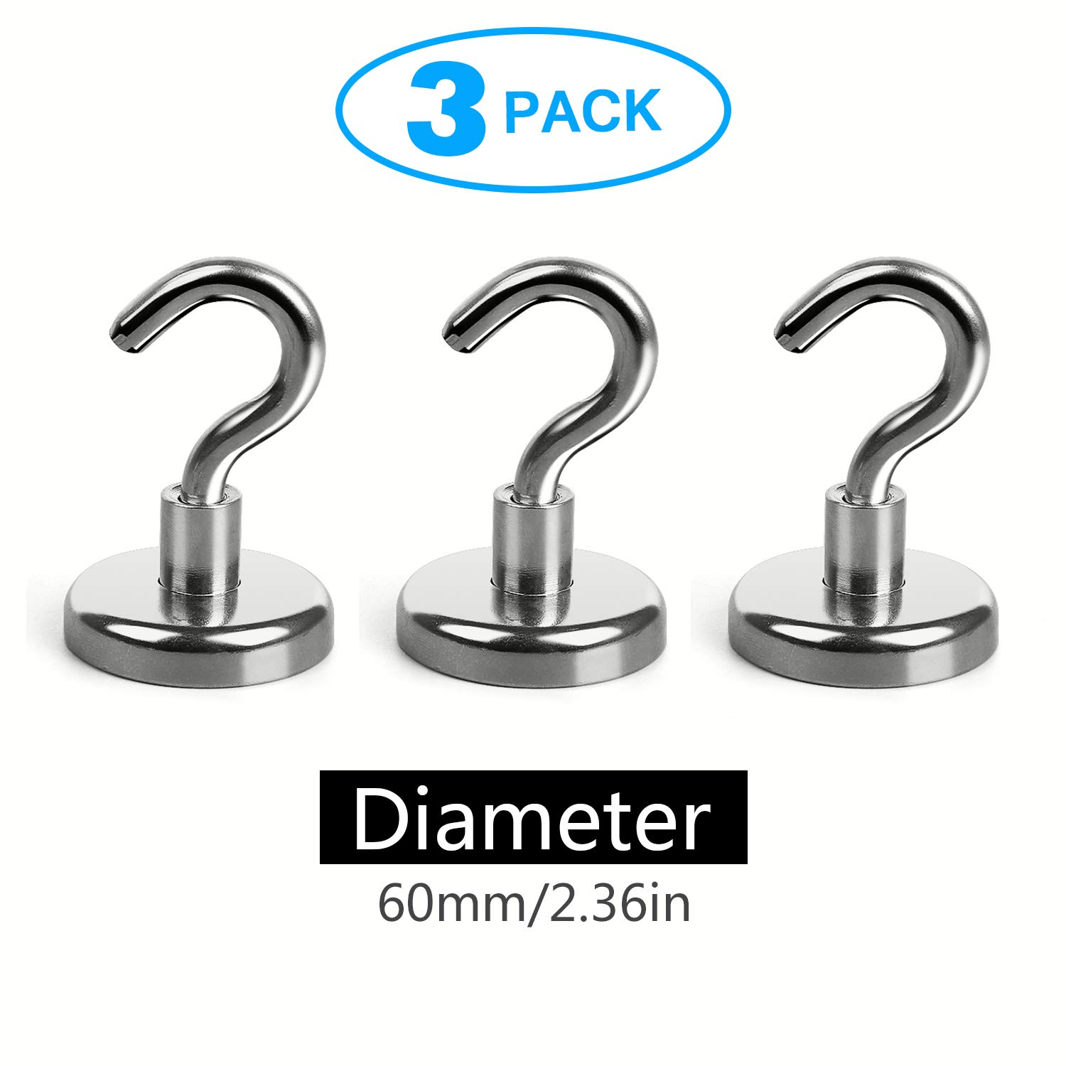 Magnetic Hooks Powerful Neodymium Magnet 3 Hook Set Great for Your Refrigerator and Other Magnetic Surfaces (Diameter : 2.36 INCH-6.0 cm)