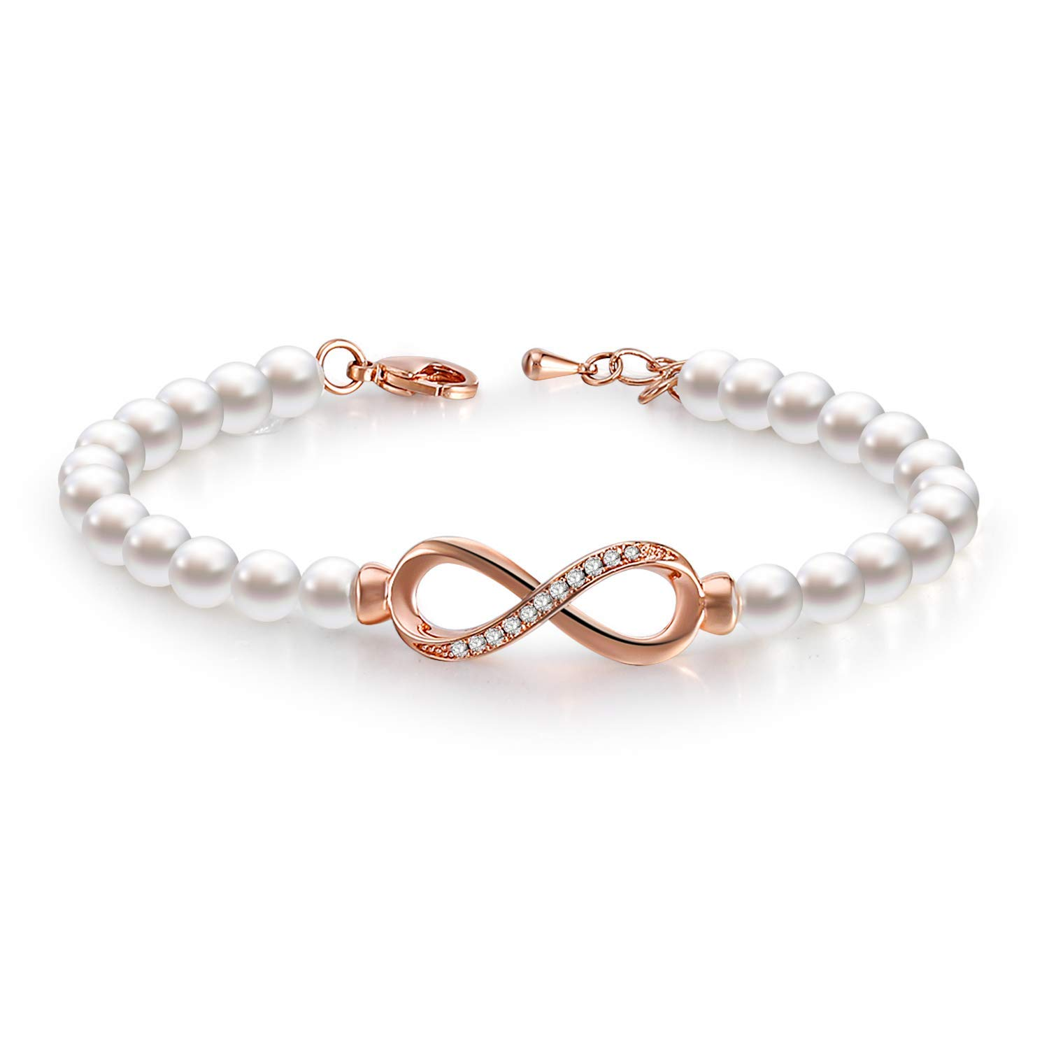 Crystals Jewelry Bridesmaids Bridal Collection with Luxury Gift Box GEORGE /· SMITH Forever Elegance Adjustable Infinity Freshwater Cultured Pearl Bracelet for Women