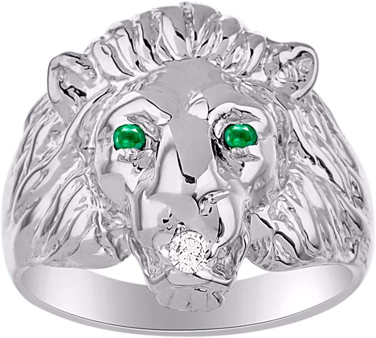 Amazing Conversation Starter Genuine Natural Diamond /& Gorgeous Red Ruby Lion Head Ring in Sterling Silver .925