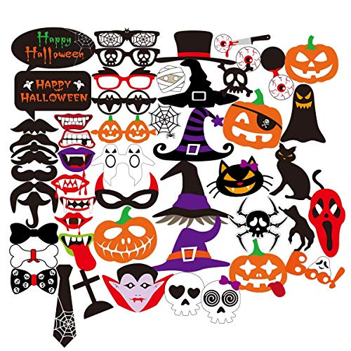 52Pcs Halloween Party Photo Booth Props Decorations Mustache Mask Funny, Posting Terror Mask On a Stick, Impromptu Fancy Dress, DIY Kit Pose Signs, Perfect for Theme Party Favors, Pack of 52 Count. ()