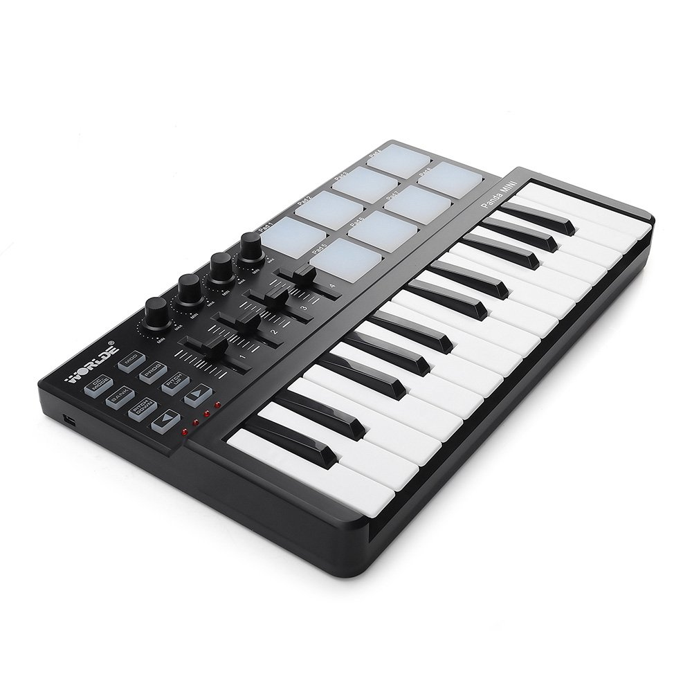 Worlde Panda MINI Portable 25 Keys USB MIDI Keyboard MIDI Controller with Drum Pad by Worlde