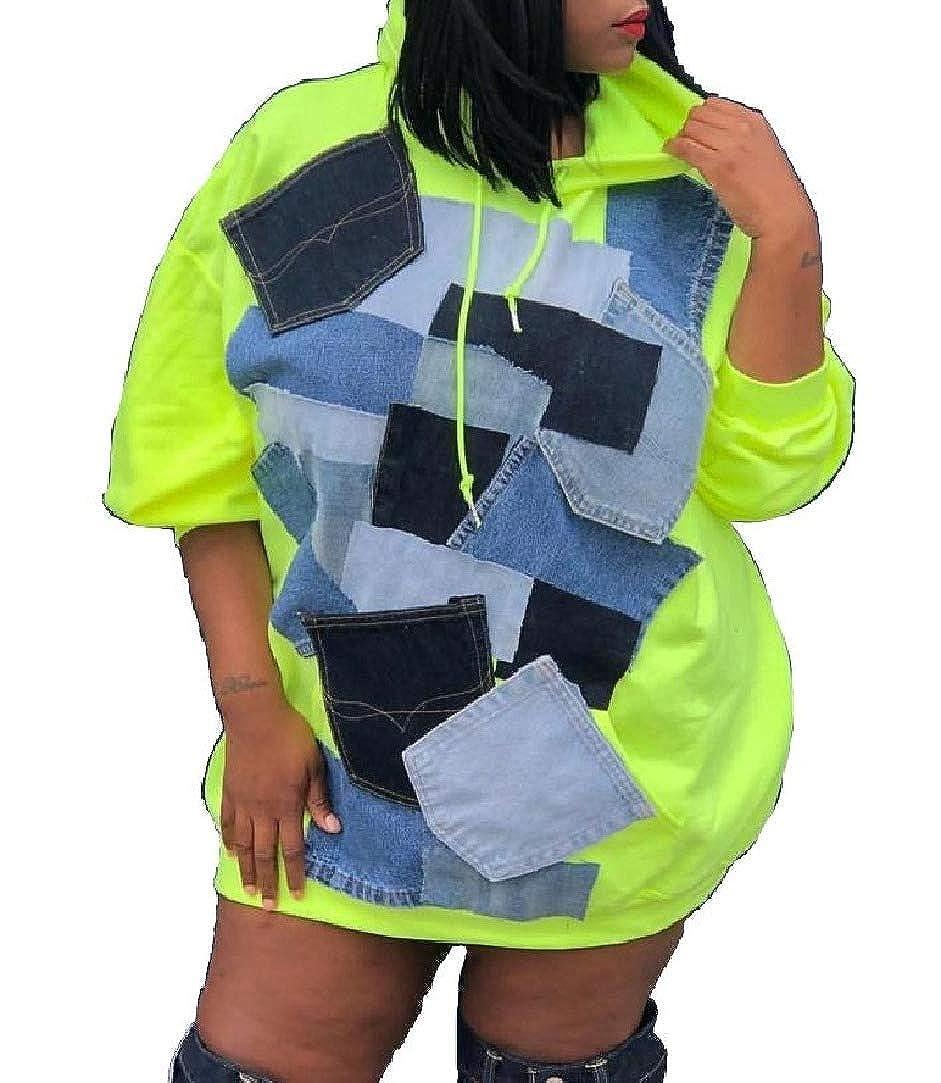 HEFASDM Women Baggy Splice Stylish Short Dress Sweatshirt Hoodies