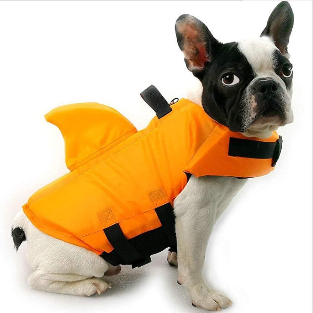 Chaleco salvavidas de verano para perro, chaleco salvavidas con aleta de tiburón, chaleco flotante para mascota con correas ajustables, ropa francesa bulldog Fin chaqueta para jugar en el mar