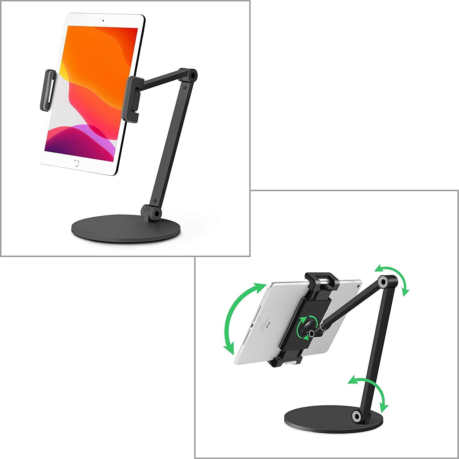 "MagicHold Aluminum Long Arm Tablet Desk Stand Mount Compatible with iPhone/iPad/iPad Mini/iPad Pro 12.9""/ Any Phone/Tablets/eBook Reader 4-13 inch,360° Swivel for Home,Office,Kitchen (Black)"