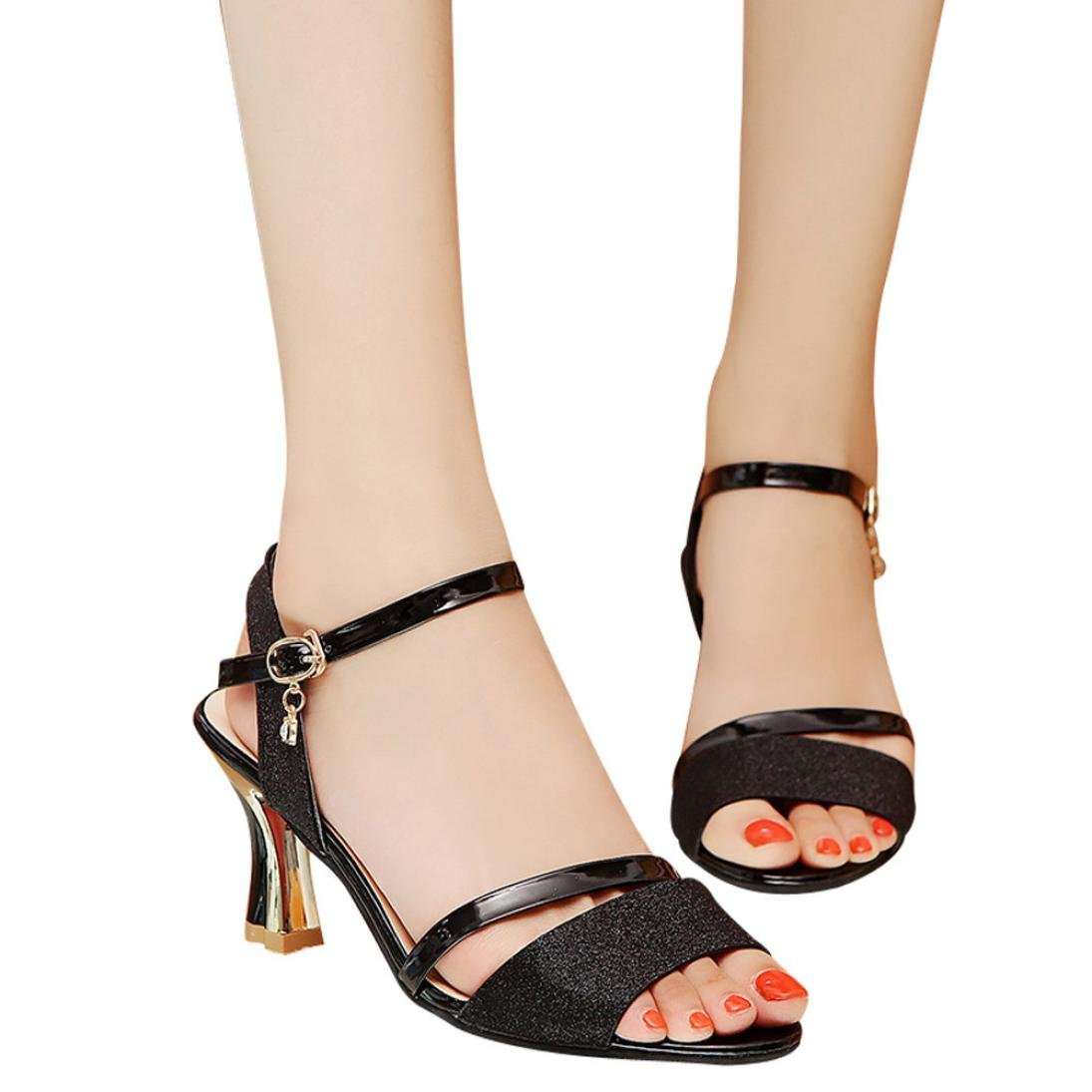 vermers Fashion Women Sequins Sandals Ankle High Heels Block Party Open Toe Shoes(US:7, Black)