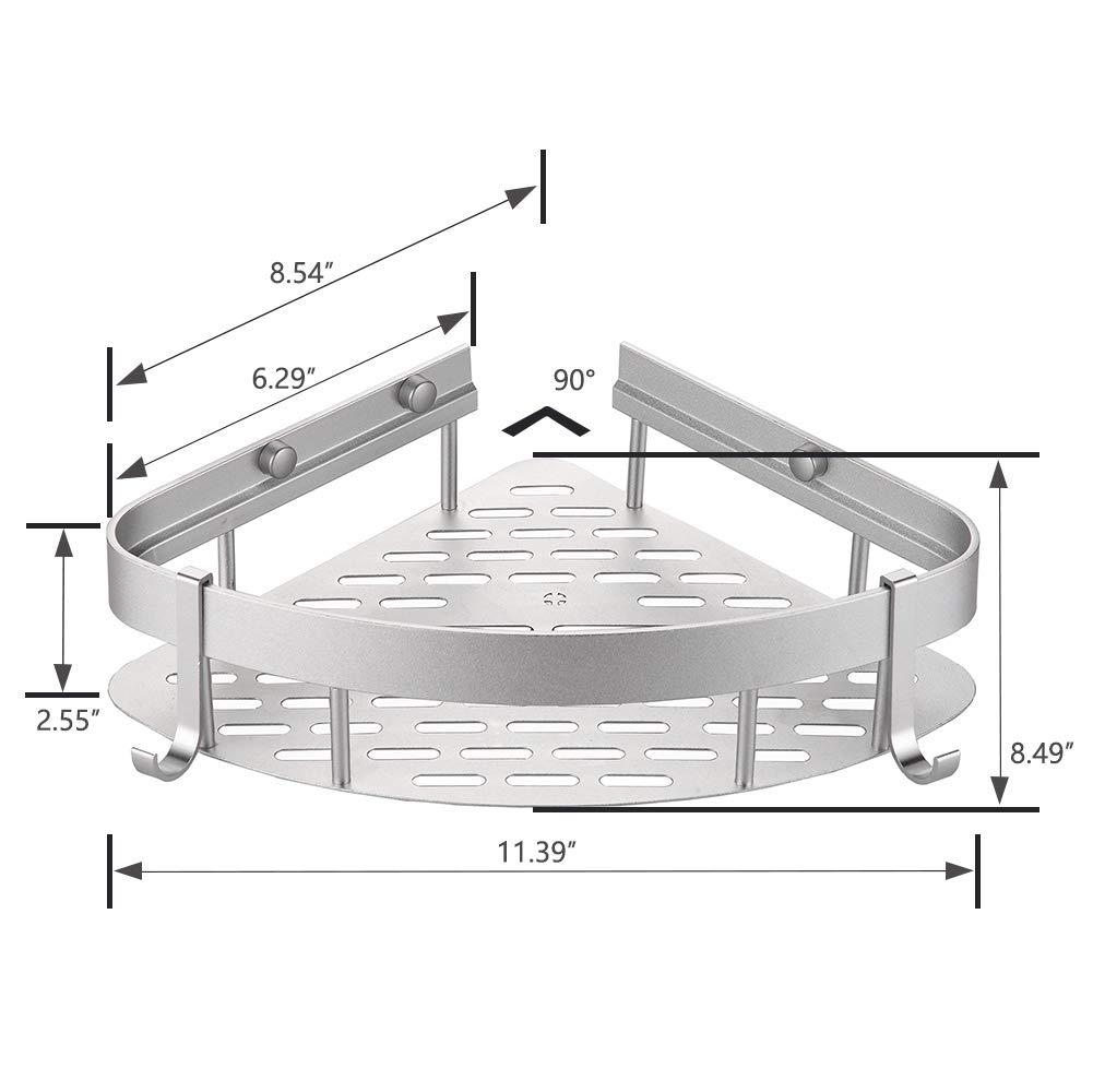 GUNMIN No Drilling Bathroom Shower Shelf Drill-Free Bathtub Corner Shelf Adhesive Shower Caddy Aluminum Alloy Kitchen Storage Basket - 2 Pack (G-901312) by GUNMIN (Image #6)