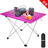 Overmont Outdoor Camping Table Folding Compact Portable Aluminum Ultra-Light with Carrying Bag for Hiking Picnic Beach Boat Trekking