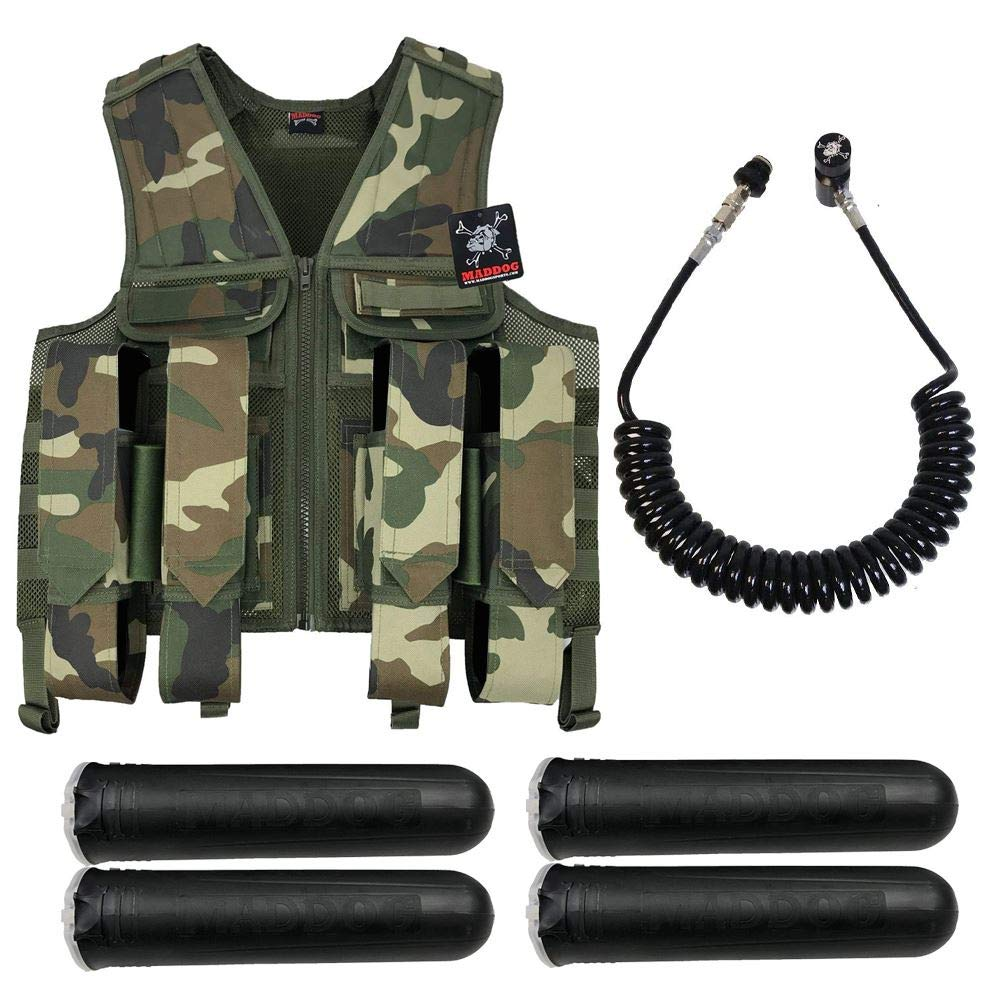 MAddog Tactical Battle Vest w/Pods & Standard Remote Coil Paintball Package - Woodland Camo by MAddog