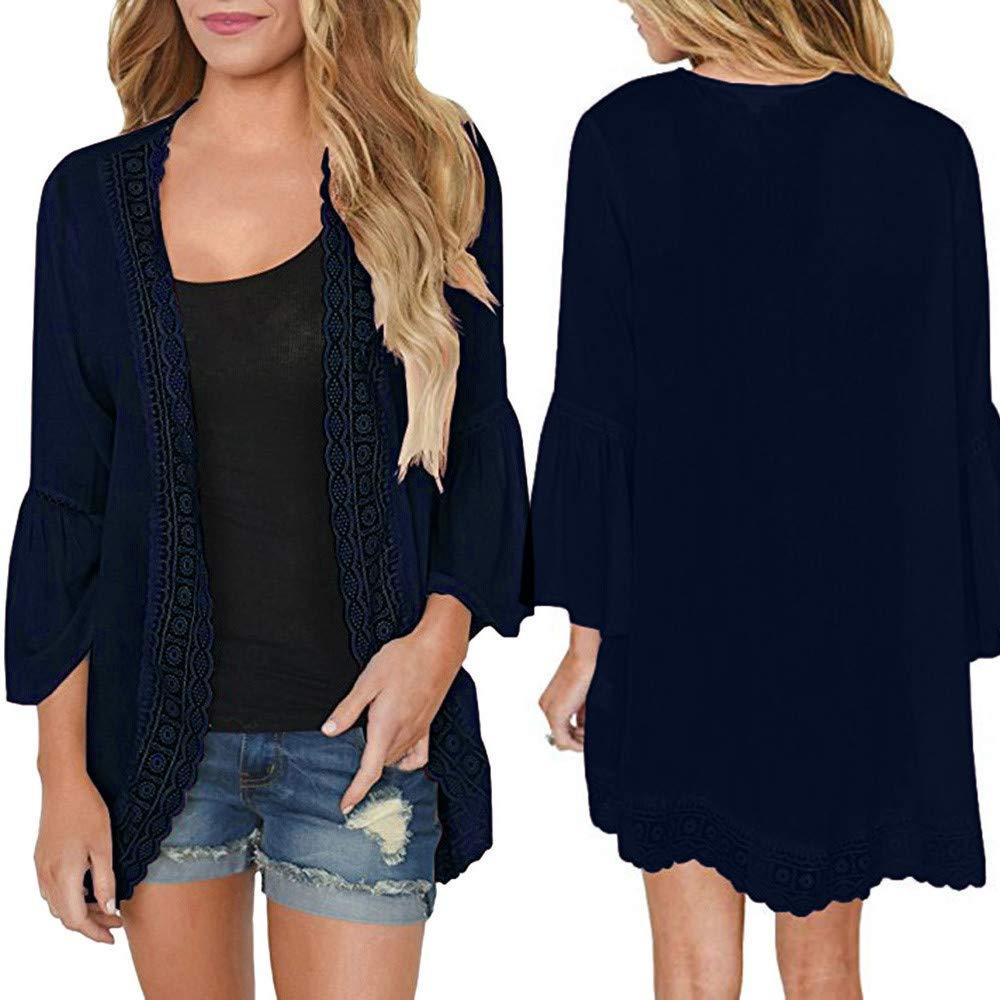 Womens Plus Size Lace Button Short Sleeve Ladies Open Cardigan Top Shirt UK 8-28