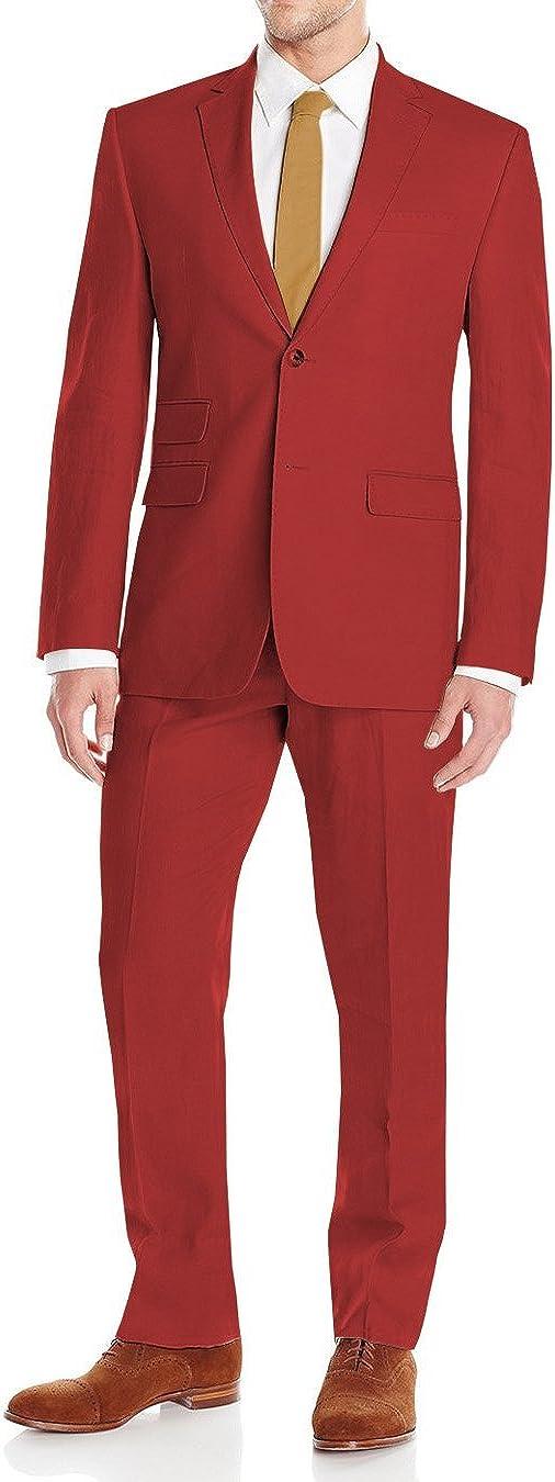 DTI GV Executive Mens Linen Suit 2 Button Modern Fit Summer Blazer Coat Pants