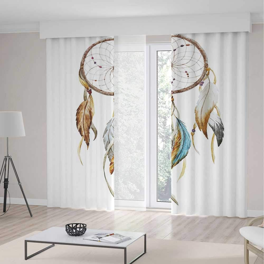 C COABALLA Decor Collection,Feather,for Living Room,Native American Watercolor Style Ornament Dream Catcher Ethnic Tribal Elements2 Panel Set,103W X 96L Inches