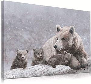 Mama Bear & Cubs Decor Wall Art Gray Bear Family Snowy Mountain Canvas Prints Forest Decoration Woodland Animals Wildlife Theme for Home Nursery Living Room Bathroom Office Large Size 32