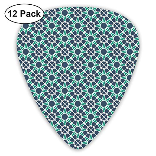 Celluloid Guitar Picks - 12 Pack,Abstract Art Colorful Designs,Star Shapes Arabic And Ottoman Ornamental Design Traditional,For Bass Electric & Acoustic Guitars.