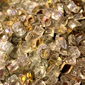Fireplace Glass Fire Pit Glass- Gold Reflective 1/2 Inch - 25 Lbs