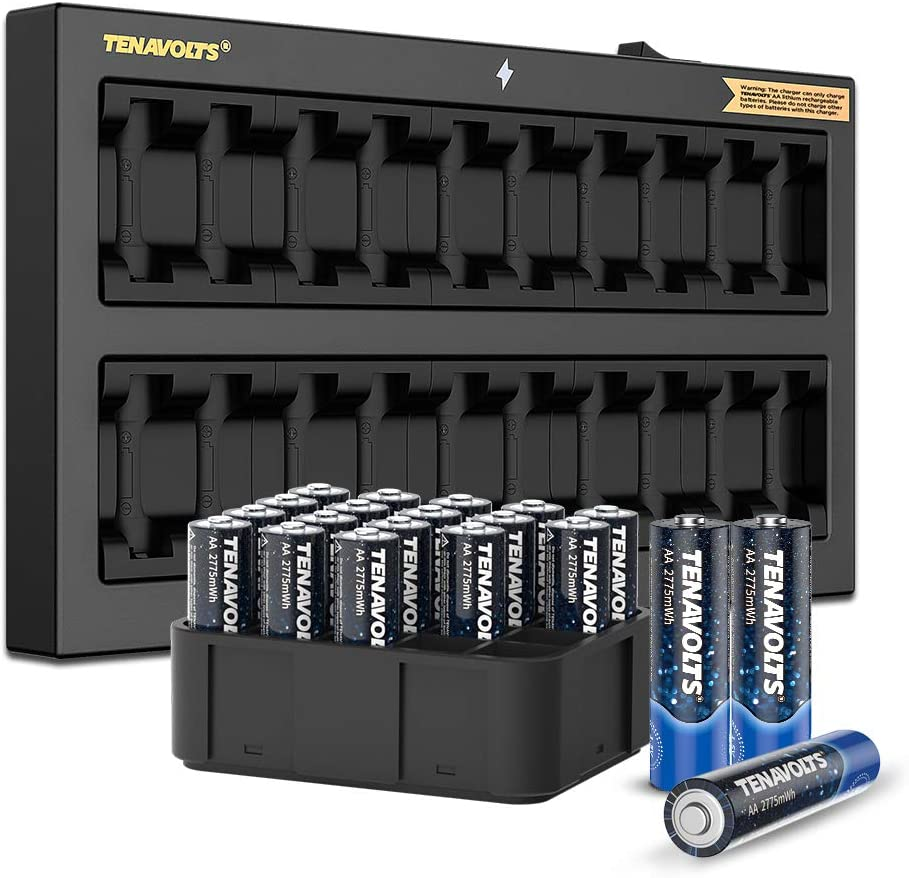 TENAVOLTS 1.5V AA Lithium Rechargeable Battery, 1.8h Fast Charge, Wall Charger, Constant Output at 1.5V, 2775 mWh, 20 Count with Charger