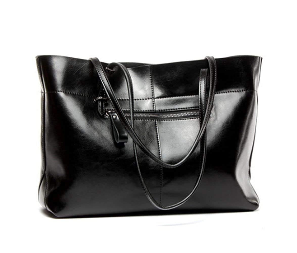 c22568e654 Amazon.com  Women s Leather Work Tote Large Shoulder Bag Top Handle Handbag  Zipper Closure Black  Shoes