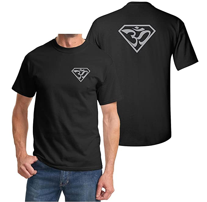 Mens Yoga Shirt Super OM Front and Back Print T-Shirt