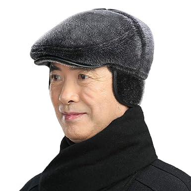 Boomly Chapeau de Papa Grand-père Béret d hiver avec oreillette Doublure  Velours Casquette 2ac1a1dc71a
