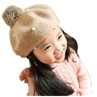 7405681f7b2 SODIAL(R) Fashion Warm Kids Children Cashmere Pearl Beanie Hat Beret Cap  Beige