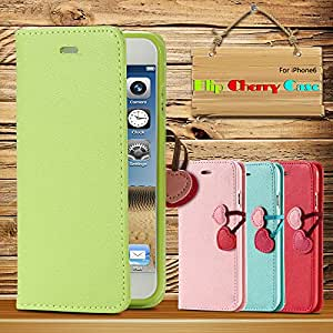 Cute Cherry Series Case for iphone 5 5S 5C Wallet Stand Lovely PU Leather Cover Luxury Fashion Cellphone Bags For iPhone5s 5c --- Color:Mint for 5C