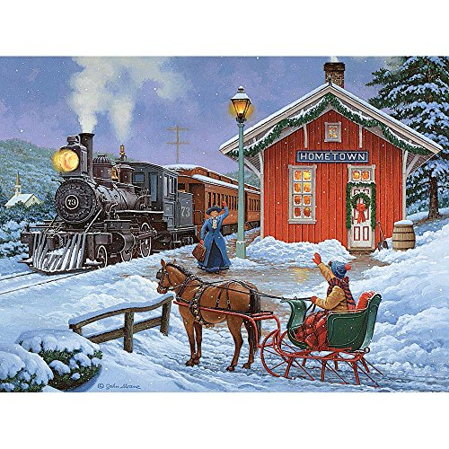 "Bits and Pieces - 300 Large Piece Glow in the Dark Puzzle for Adults - 18"" x 24"" Finished Size - Home For the Holidays by Artist John Sloane - Christmas Reunion - 300 pc Jigsaw"