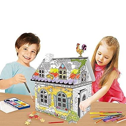 Amazon.com: Kids Cardboard Play House DIY Playhouse Large Corrugated ...