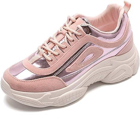 Zapatillas Deportivas de Mujer - Zapatillas Mujer Running Casual Yoga CalzadoCostura Laser Brillante Blanco Zapatos Rosa 40: Amazon.es: Zapatos y complementos