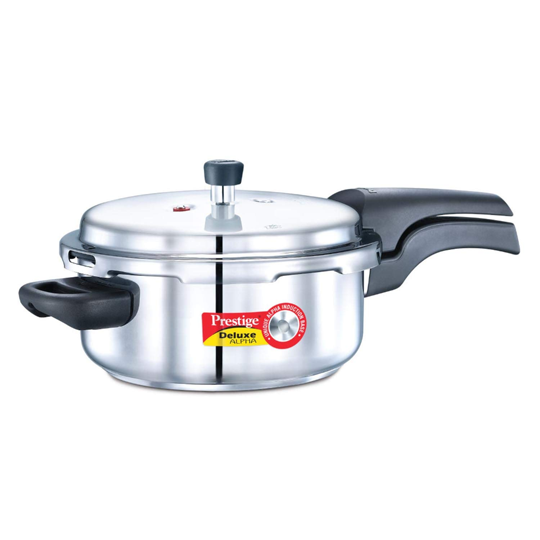 Prestige 3L Alpha Deluxe Induction Base Stainless Steel Pressure Cooker, 3.0-Liter by Prestige
