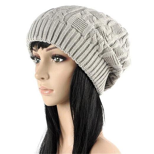ce882fcb1f7 HENGSONG Women Warm Winter Beret Braided Baggy Beanie Knitted Crochet Hat  Ski Cap (Beige)