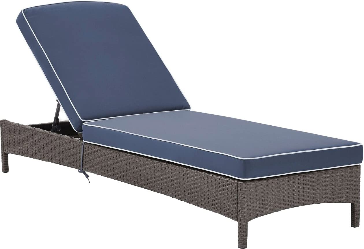Crosley Furniture CO7122WG-NV Palm Harbor Outdoor Wicker Chaise Lounge, Grey with Navy Cushions