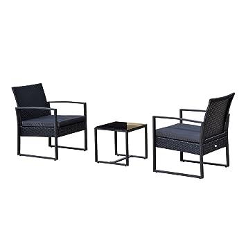 Outsunny Salon de Jardin 2 Places 3 pièces 2 chaises avec Coussins + ...