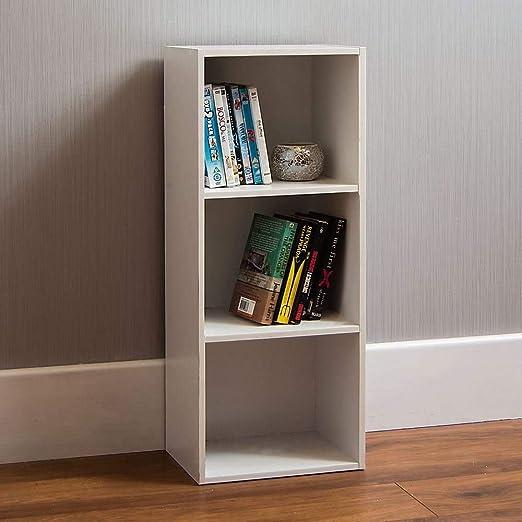Vida Designs Oxford - Estantería de 3 estantes, Hecha de Madera de Roble, para Oficina, Sala de Estar Moderno 80 x 32 x 24 cm Blanco