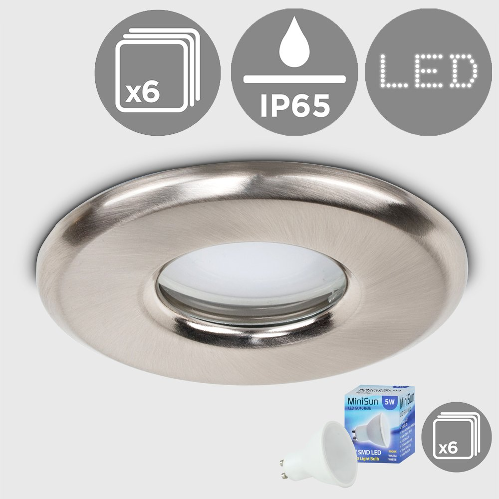 6 x MiniSun Bathroom/Shower / Soffit IP65 Rated Brushed Chrome GU10 Recessed Ceiling Downlights - With 6 x 5W GU10 Daylight/Cool White LED Bulbs