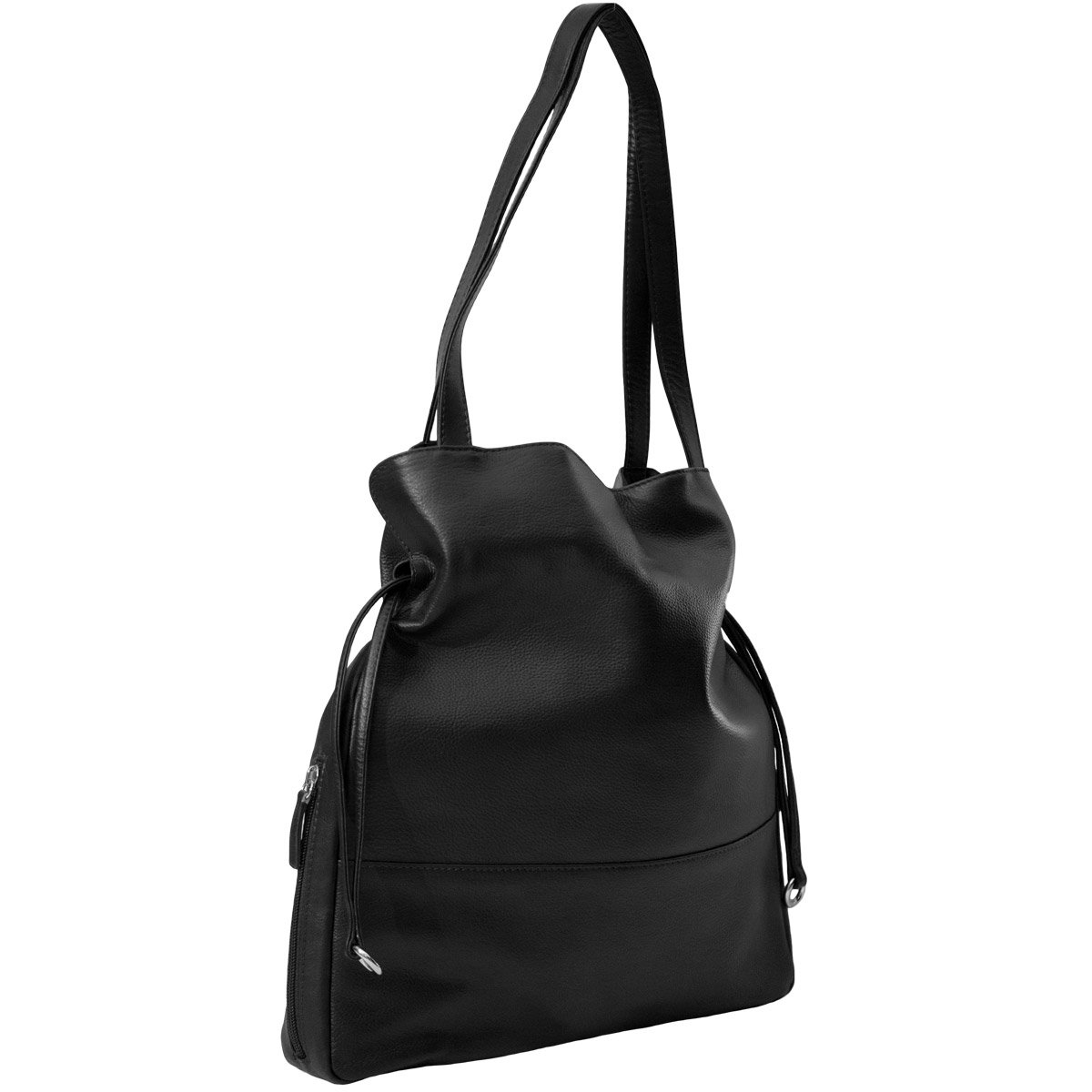 CTM Women's Leather Tote Handbag with Cosmetic Case, Black