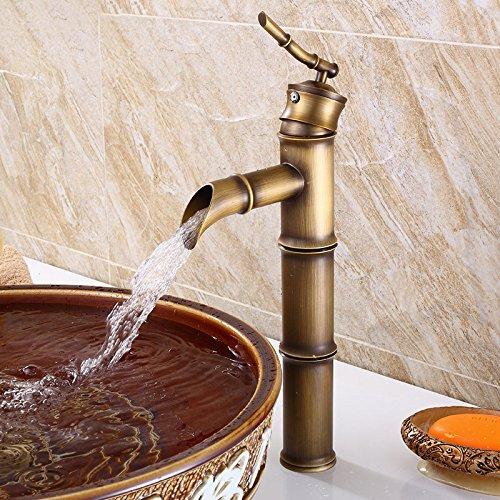 DESON Grifo Lat/ón Antiguo dibujo en forma de Ca/ña de bamb/ú Mezclador Monocomando Ba/ño Lavabos Grifo Agua caliente y fr/ía Lavabo Grifos FG 1022