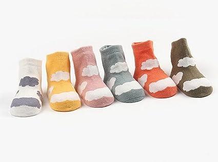 Kry 6 pares de bebé infantil multicolor nube antideslizante calcetines de niño y niña para la