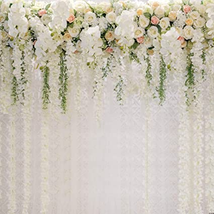 Amazon Com Bridal Shower Square Wedding Floral Wall Backdrop White