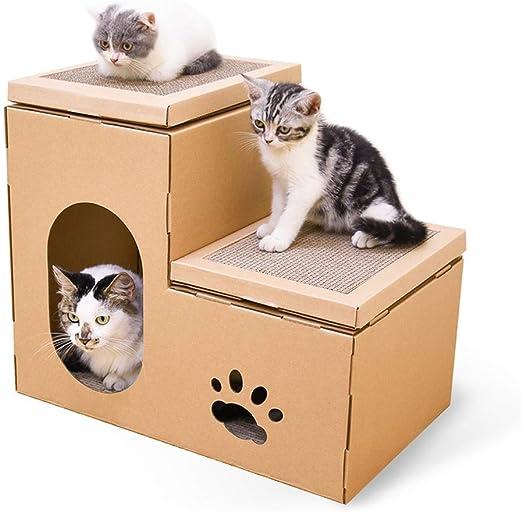 QBYLYF Rascador de cartón para Gatos Cottage Cat Scratcher House ...