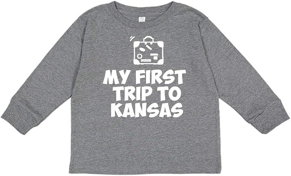 Toddler//Kids Long Sleeve T-Shirt My First Trip to Kansas