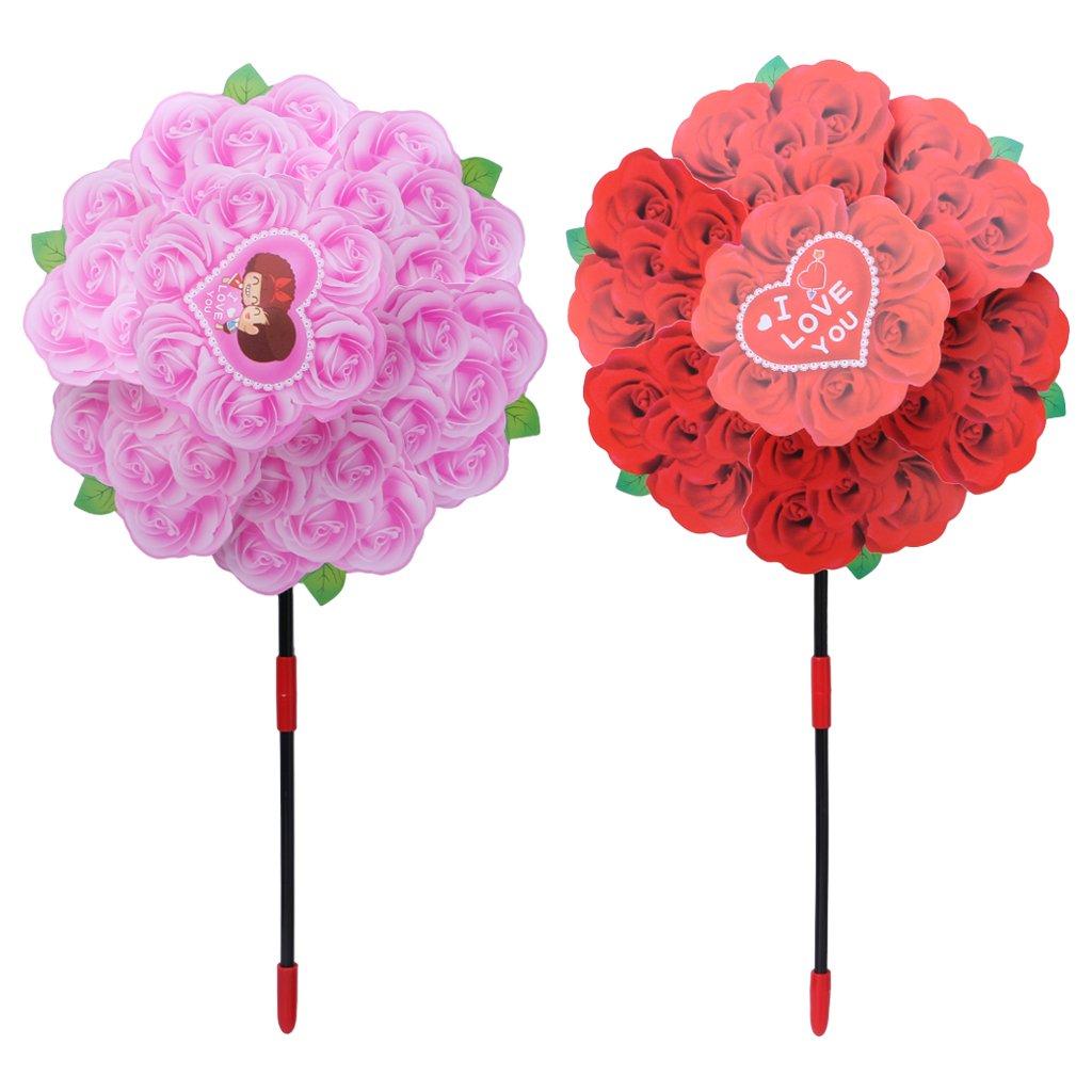 Ranuw Rose Flower Windmill Wind Spinner Whirligig Wheel Home Yard Party Decor Kids Toy