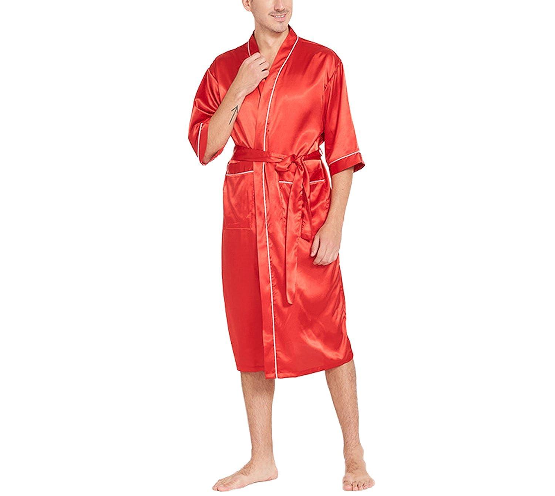 Asskyus Men' s Short Sleeve Satin Sleep Robe Kimono Gown, Bathrobe for Men Long Style Bathrobe for Men Long Style (Regular Black)