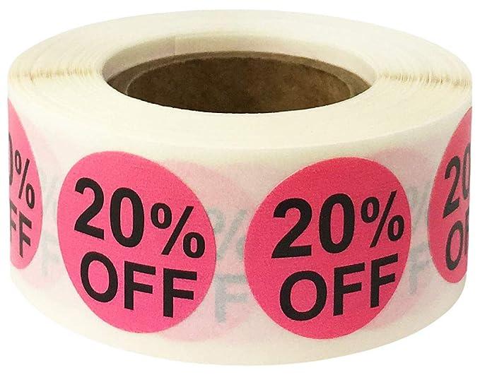 Rosa 20% Off Circulo Pegatinas, 19 mm 3/4 Pulgada Redonda, 500 Etiquetas en un Rollo